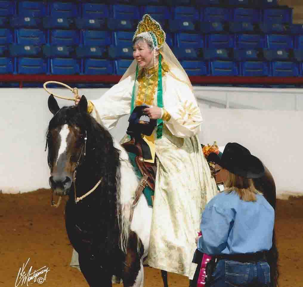 Linda Seger winning 3rd place horseshow in Fort Worth TX